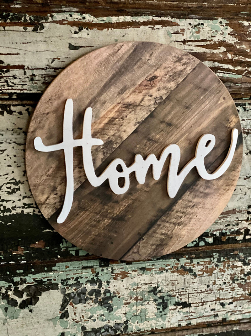 Round Wood Home Sign For Front Door, farmhouse home sign for wreath, ornament sign. wreath attachment, Wall decor, craft supply