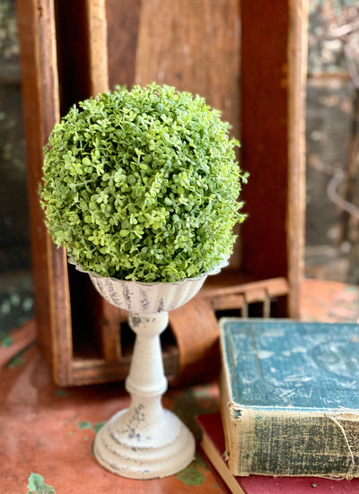 Artificial Creeping Thyme Greenery Ball, farmhouse mantle decor, greenery sphere urn filler, wreath making supply, Craft supply