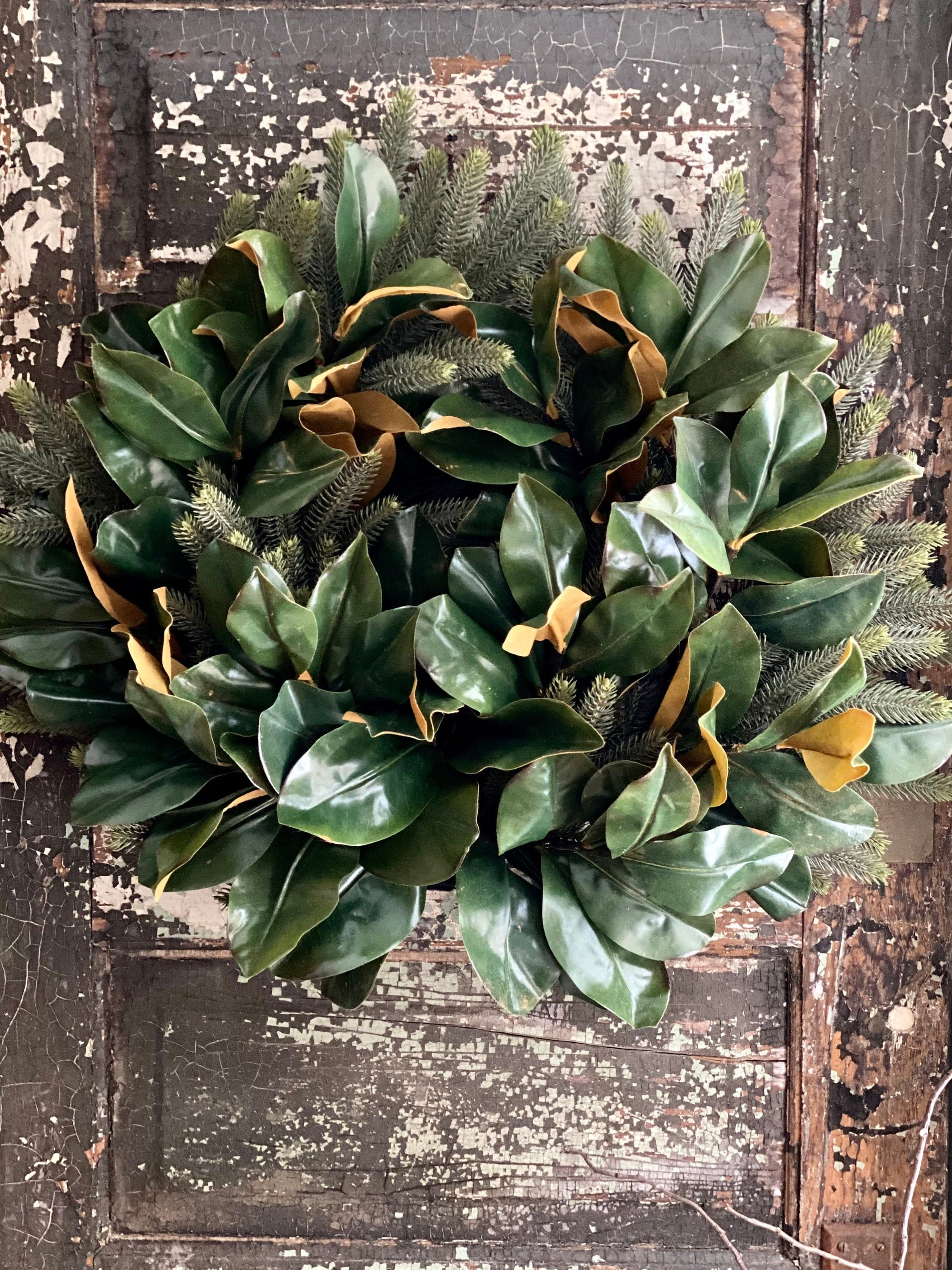 The Gaia Magnolia & Pine Wreath For Front Door, Winter wreaths, All season wreath, farmhouse wreath, cabin wreath, real touch magnolia