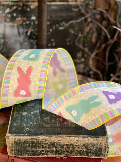 "Easter Bunny Multi Color Wired Ribbon 4"" x 10 YARD ROLL, Easter Ribbon, Peep bunny rabbit  ribbon, Spring ribbon"