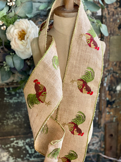 "Farmhouse Luxury Burlap Rooster Wired Ribbon 4"" x 5 YARD ROLL, Spring Chicken Ribbon, Craft supply, Bow making ribbon, Embroidered ribbon"
