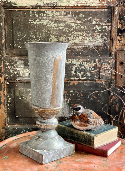 Galvanized Distressed Gray & Bronze Tall Metal Urn, Farmhouse rusty look footed urn, Large metal vase, Vase for mantle, rustic urn
