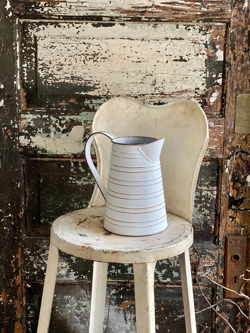 Vintage Style White & Caramel Stripe Metal Pitcher, utensil holder, Farmhouse water pitcher, French country cottage flower vase