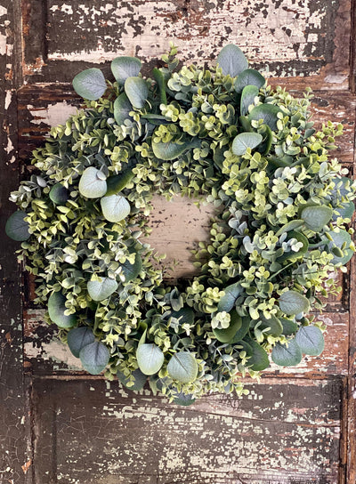 All Season Mixed Eucalyptus Greenery Wreath For Front Door, Spring farmhouse wreath, Mothers day gift, Easter wreath, wreath making supply,