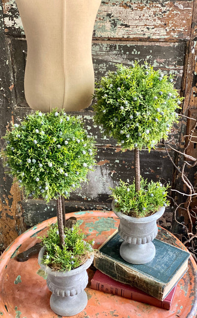 Set of 2 The Kaye Spring Juniper Topiary Urns, Centerpiece For Table, French country cottage arrangement, mantle decor