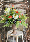 The Nathalie coral cream & blue wildflower centerpiece for dining table, farmhouse urn arrangement, blueberry ranunculus Daisy