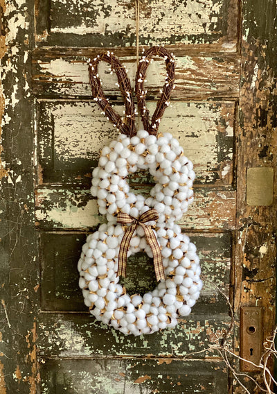 Fluffy Cotton Boll Bunny Wreath For Front Door, Rabbit Easter wreath, Cottage decor, Spring farmhouse, shabby chic wreath, Easter bunny
