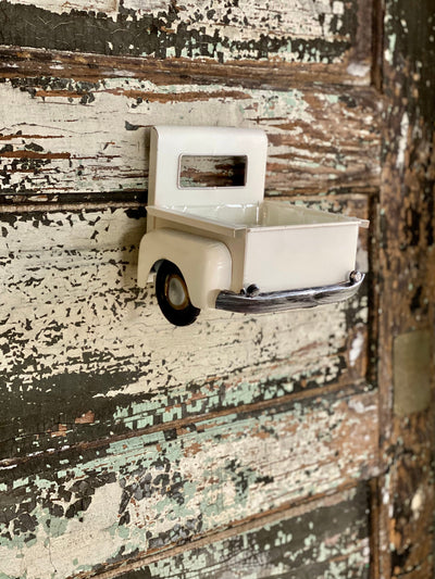 White Vintage Style Farmhouse Pickup Truck Planter, Miniature Pickup Truck bed for flowers, Half truck for wreath making, craft supply
