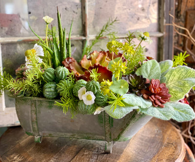 The Jade Succulent Centerpiece For Dining Table, all season arrangement, Cactus succulent floral, real touch succulents in vintage bathtub