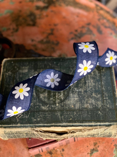 "Navy Blue & White Daisy Wired Ribbon 1.5"" x 10 YARD ROLL, Easter Ribbon, farmhouse ribbon, Spring flower ribbon"