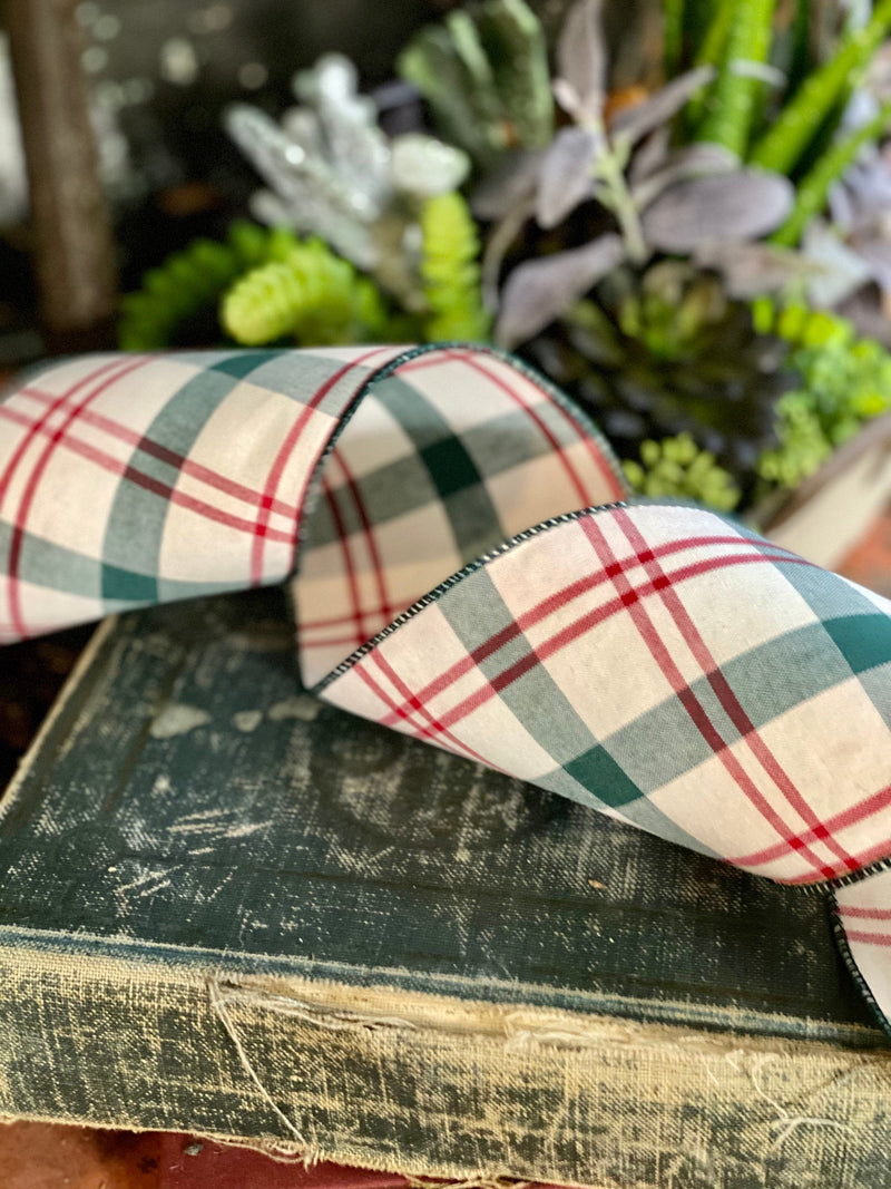 "Cream Green & Red Plaid Wired Ribbon 4"" x 10 YARD ROLL, Easter Ribbon, farmhouse ribbon, Spring ribbon"