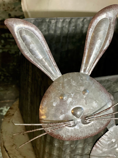 Galvanized Bunny Rabbit Head Magnet, Farmhouse Easter decor, Easter bunny ornament, wreath making supply, Metal bunny embellishment