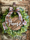 The Bethany All Season Eucalyptus Wreath For Front Door, Spring farmhouse wreath, Mothers day gift, wood Home sign Greenery wreath,