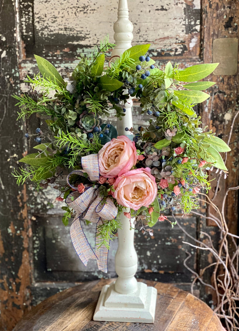 The Edwina Pink Rose & Blueberry Wreath For Front Door, Farmhouse year round wreath, spring cottage wreath, Mother's Day gift