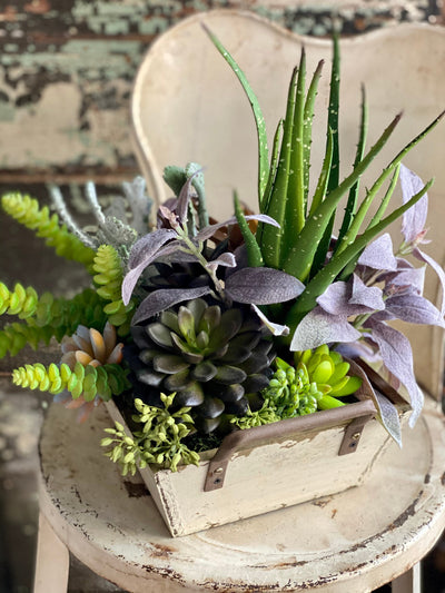 The Kylie Succulent Centerpiece For Dining Table, spring Summer arrangement, year round centerpiece, farmhouse decor, rustic decor