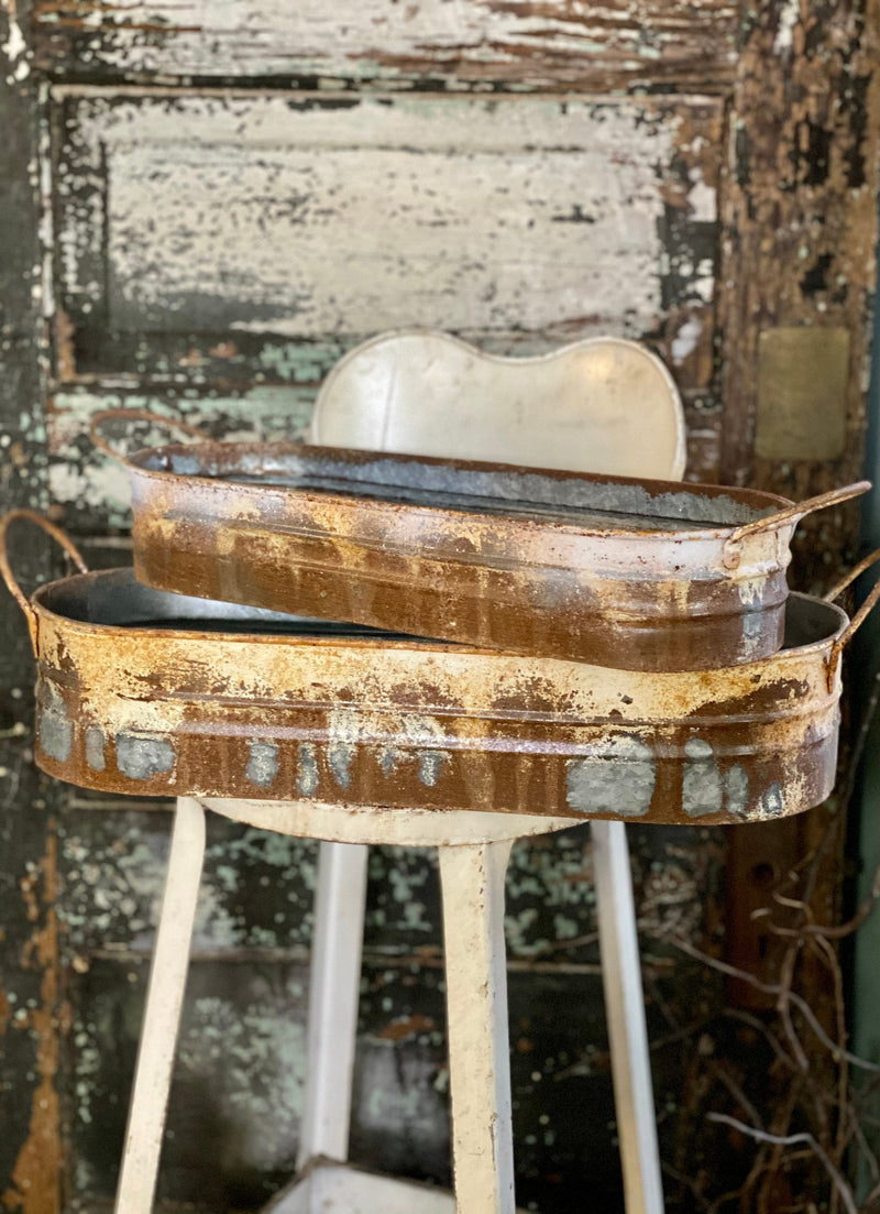 Galvanized Whitewash Rusted Oblong Metal Trug, Farmhouse distressed vintage look container, Large metal planter, bulb planter, rustic decor