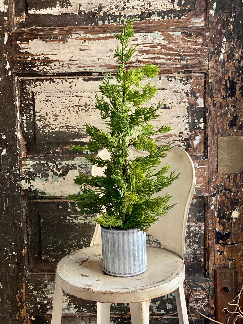 The Kara Artificial Mini Cedar Potted Tree, Mini tree topiary for mantle, French country cottage decor, Farmhouse Cedar greenery