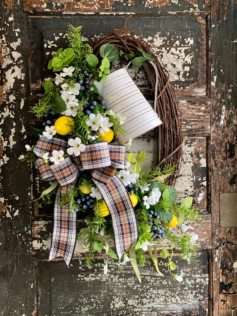 The Lorraine Spring Lemon & Blueberry Wreath for front door, Summer wreath, kitchen fruit wreath, mothers day pick me up gift, Easter decor