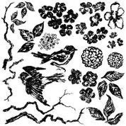IOD Birds Branches Blossoms Decor Stamp, Stamp for crafts, craft supply, Cottage decor, Card embellishment, French country stamp designs