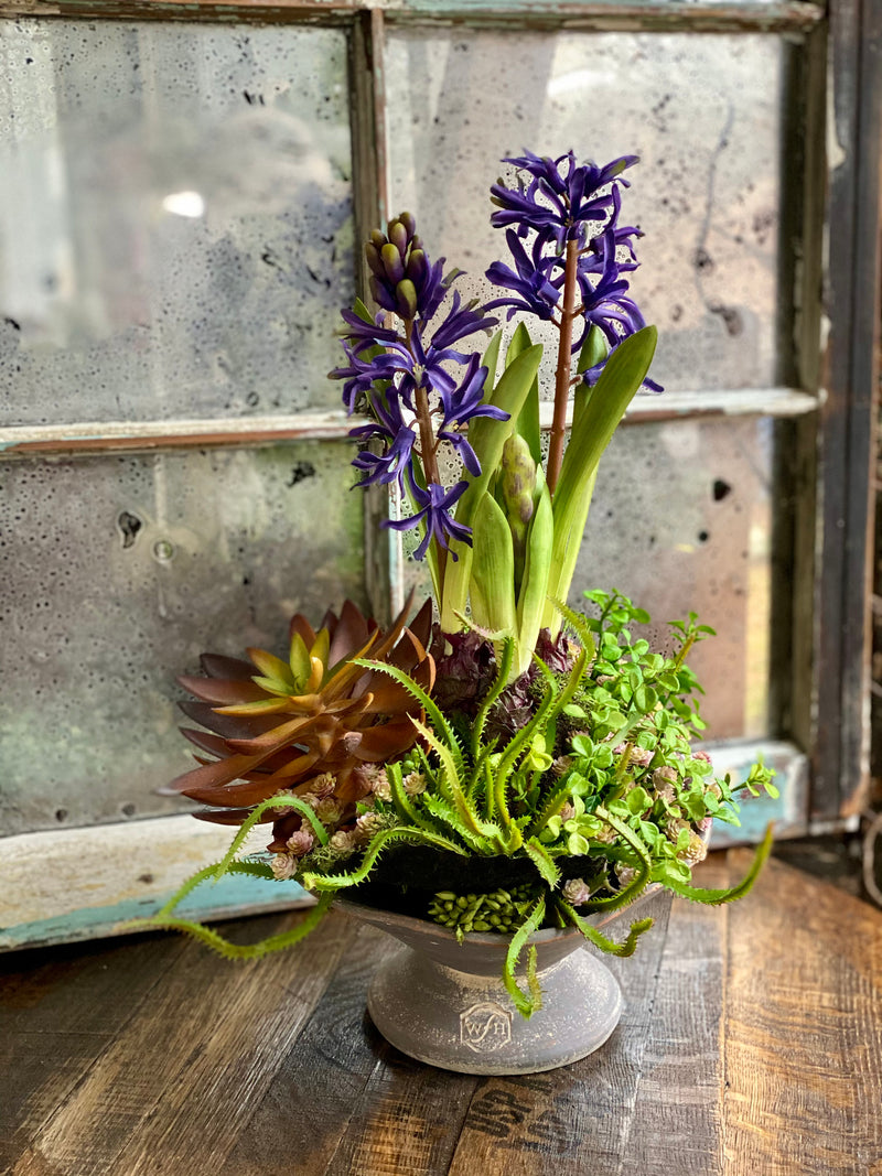 The Sorrel Succulent Centerpiece For Dining Table, all season arrangement, Hyacinth & mushroom centerpiece, real touch floral