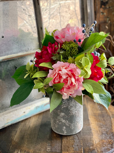 The Lola French Country Farmhouse Vase Arrangement For Table, pink peony & blueberry urn centerpiece, spring cottage floral