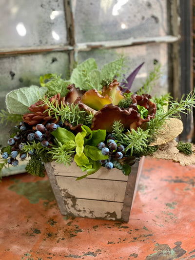 The Sallie Succulent Herb Garden Centerpiece For Kitchen Table, spring Summer arrangement, year round centerpiece, farmhouse rustic decor