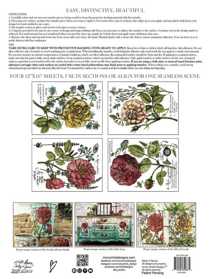 IOD Ladies In Waiting Botanical Rub On Transfer Sheet, Floral Transfers for crafts, craft supply, Art Supply, Furniture transfer designs