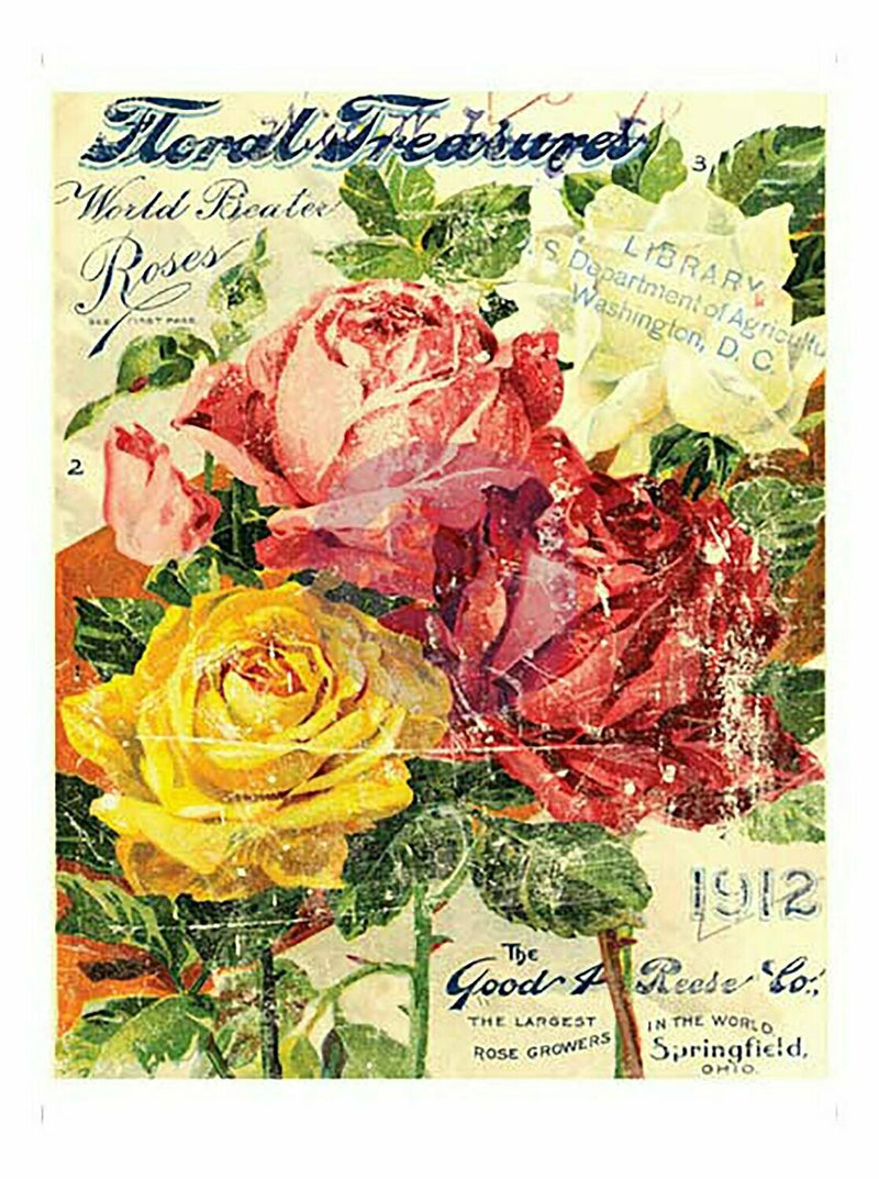 IOD Floral Treasure Decor Rub On Transfer Sheet, Transfers for crafts, craft supply, Card embellishment, Farmhouse transfer designs