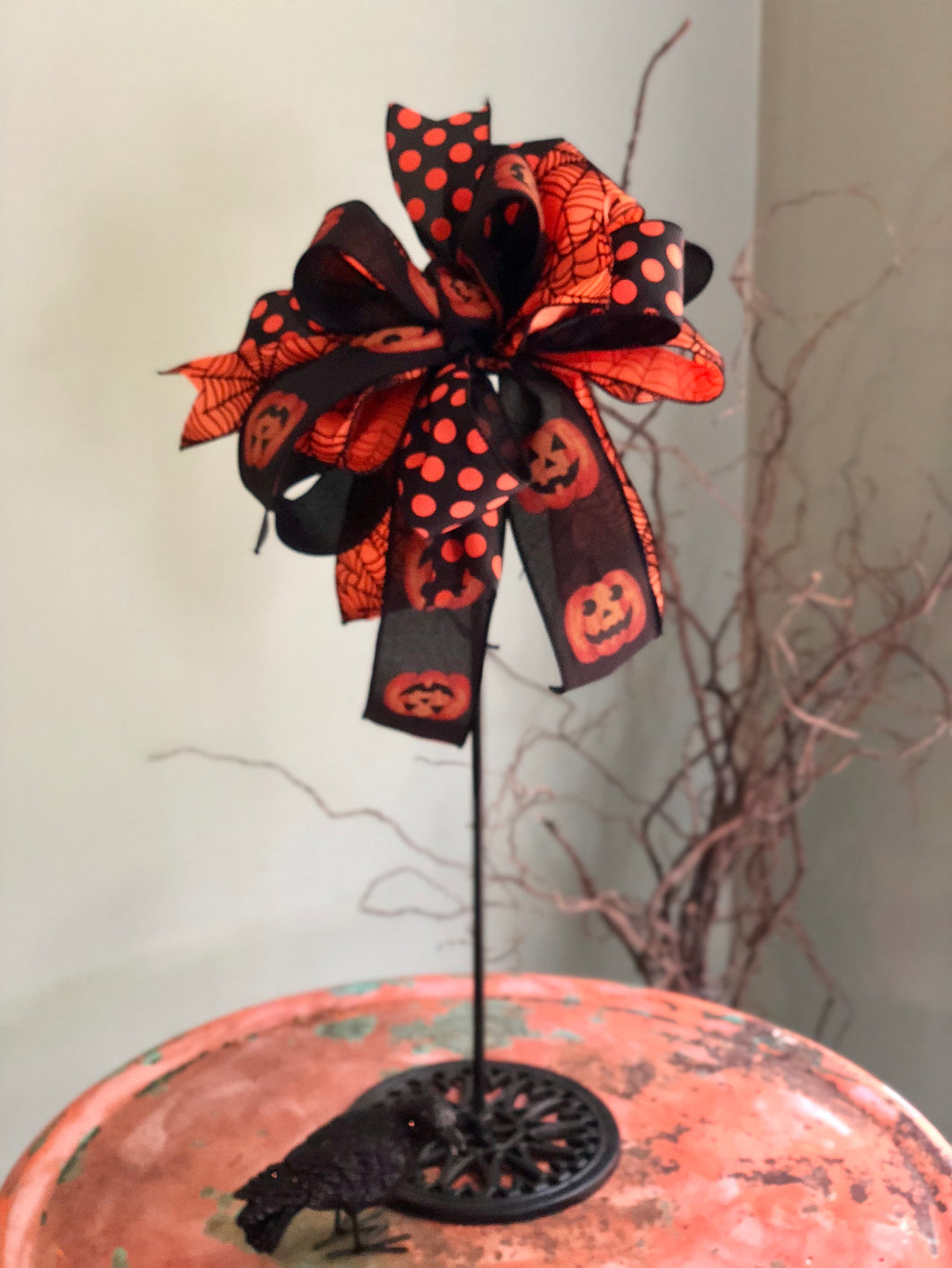 The Maleficent Black Orange Halloween Spiderweb Bow