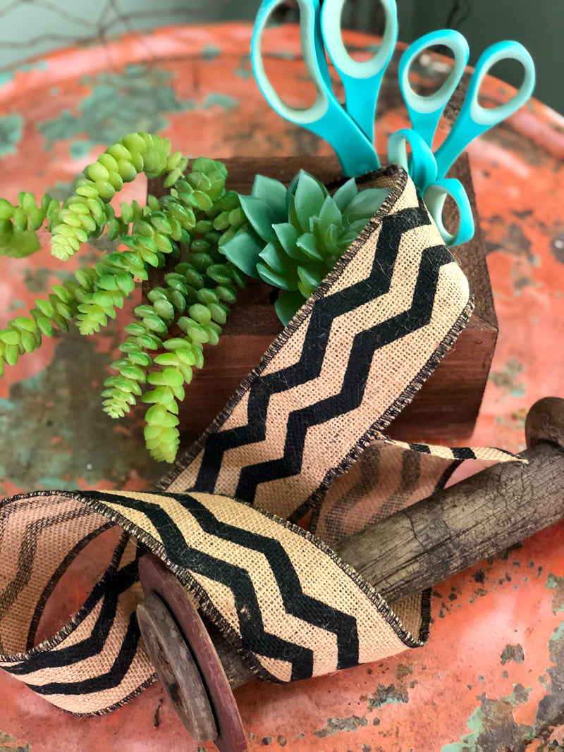 Black Chevron Jute Ribbon