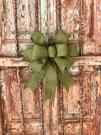 The Olive Green Burlap Bow