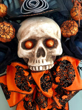 Load image into Gallery viewer, The Bellatrix Orange & Black Halloween Wreath