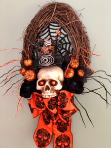 The Bellatrix Orange & Black Halloween Wreath
