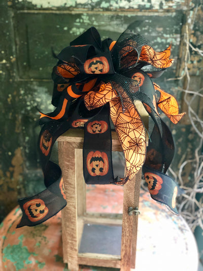 The Minerva Black & Orange Halloween Spiderweb Bow