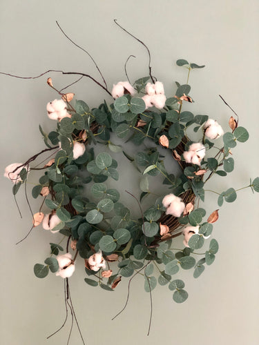 Eucalyptus & Cotton Boll Wreath Base