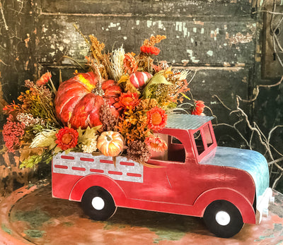 The Lynne Fall Vintage Truck With Pumpkin Arrangement