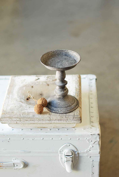 "7"" Pillar Candle Stand Vintage Style Aged Metal"