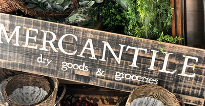 Vintage Style Mercantile Large Wood Sign