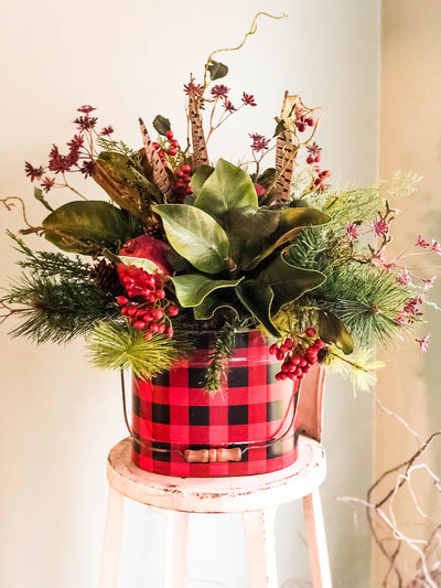 The Rowena Rustic Farmhouse Buffalo Check Winter Centerpiece