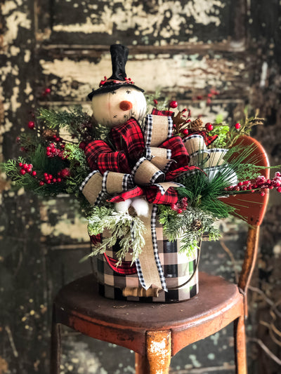 The Lacy Red & Black Buffalo Check Snowman Christmas Centerpiece
