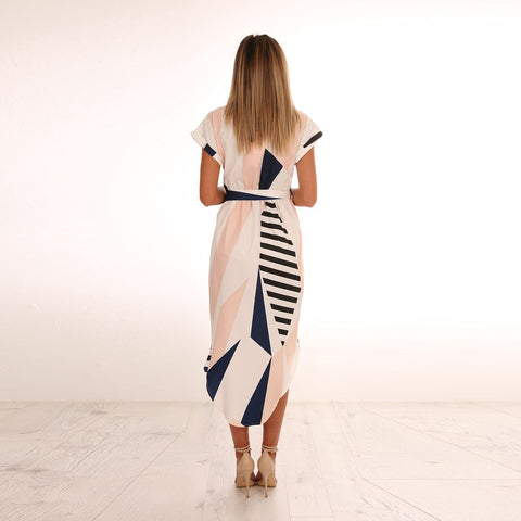 V-Neck printed maxi dress with belt