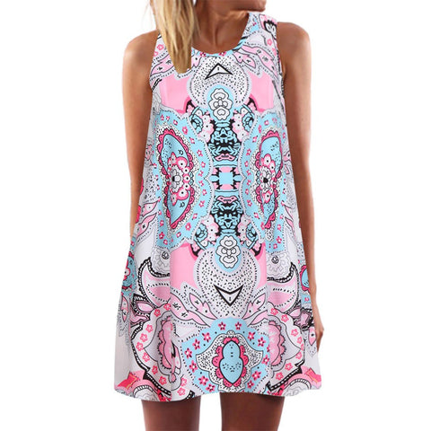 Summer sleeveless printed mini dress