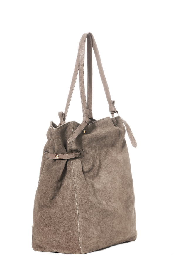 """Maren"" Veloursleder Shopper in grau"