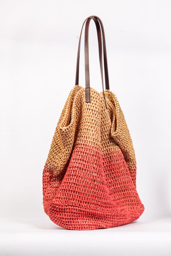 Raffia-Shopper in Tye-Dye