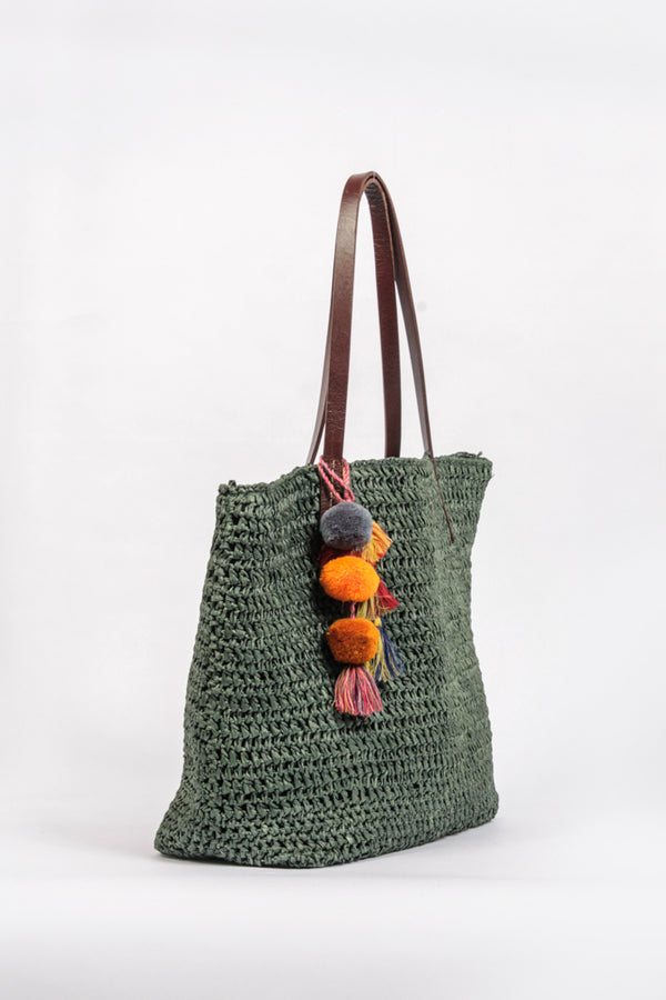 Raffia-Shopper in Grün