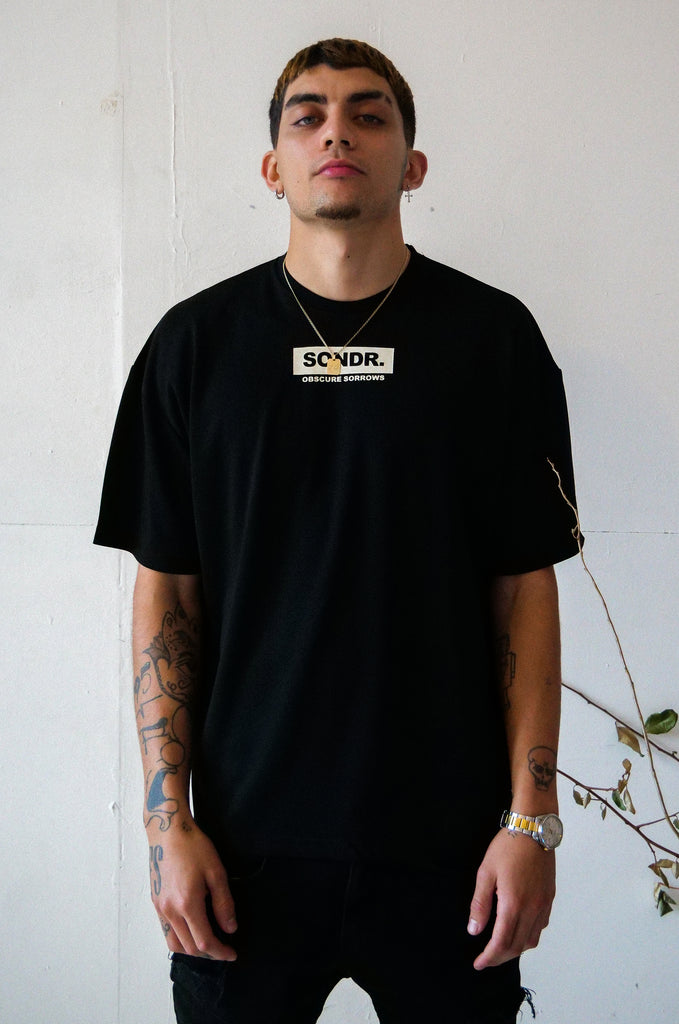 SONDR. Obscure Sorrows Logo Drop Shoulder Box Tee Black