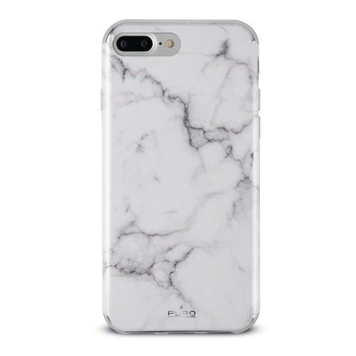Puro iPhone 8/7/6/6S Plus, Marble Cover, Vit