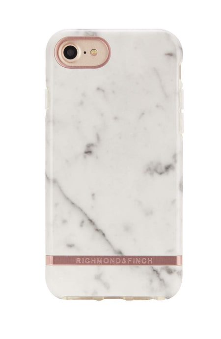 Richmond & Finch White Marble, rose gold detaljer, för iPhone 6/6s/7/8