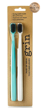 Load image into Gallery viewer, Grin Charcoal Infused Biodegradable Toothbrush – 2 Pack