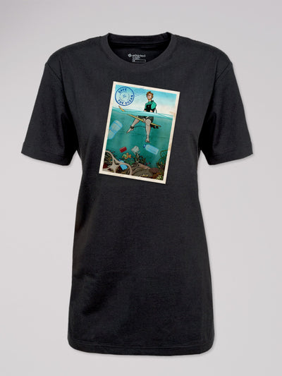 T-Shirt Heshima mit dem Motiv Save the Ocean von ethicted in schwarz.